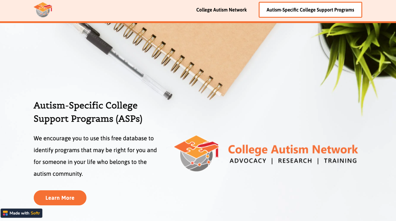 An image of the Autism Specific Programs (ASPs) website.